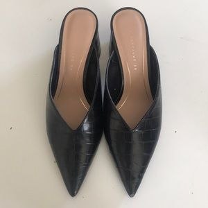 Zara Block Leather Heel